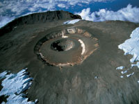 Kilimanjaro's crater seen from the air